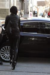 Kat Von D Wearing Sexy Latex Pants Heading To The Morning Show