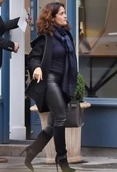 Salma Hayek - Wears Leather Out Shopping in London's Belgravia (11/11/14)